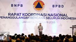 Kepala Badan Nasional Penanggulangan Bencana (BNPB) Willem Rampangilei memberikan kata sambutan saat pembukaan Rapat Koordinasi Nasional (Rakornas) Penanggulangan Bencana seluruh Indonesia di Jakarta, Rabu (24/2). (Liputan6.com/Faizal Fanani)