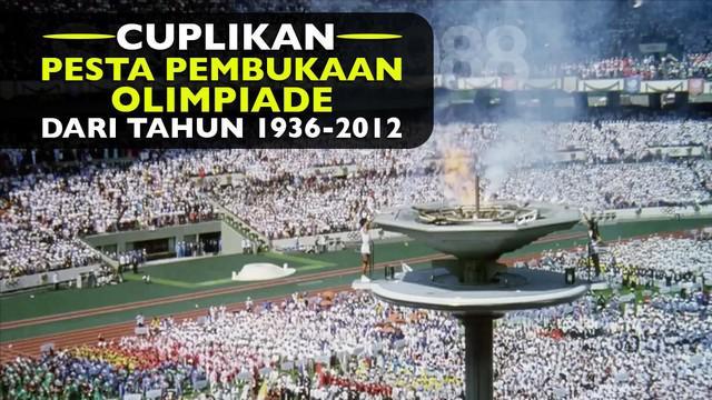 Video cuplikan pesta pembukaan ajang olah raga yaitu Olimpiade dari tahun 1936 hingga tahun 2012.