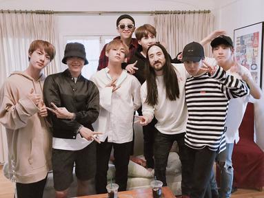 Para penggemar BTS, ARMY tampaknya akan mendapatkan kejutan dari DJ sekaligus produser asal Amerika Serikat, Steve Aoki. Lantaran ia mengatakan akan merilis lagu remix dari The Truth Untold. (Foto: soompi.com)