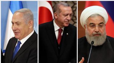 PM Netanyahu dari Israel, Presiden Erdogan dari Turki, dan Presiden Rouhani dari Iran.