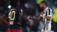Gelandang Juventus Douglas Costa (kanan) merayakan gol ke gawang Genoa pada laga Serie A di Allianz Stadium, Turin, Senin (22/1/2018). (AFP/Marco Bertorello)