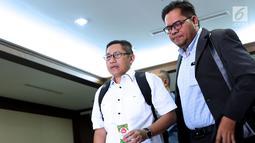 Mantan Ketua Umum Partai Demokrat, Anas Urbaningrum jelang menjalani sidang lanjutan PK di Pengadilan Negeri Jakarta Pusat, Kamis (12/7). Sidang beragenda pembacaan kesimpulan pemohon Peninjauan Kembali. (Liputan6.com/Helmi Fithriansyah)