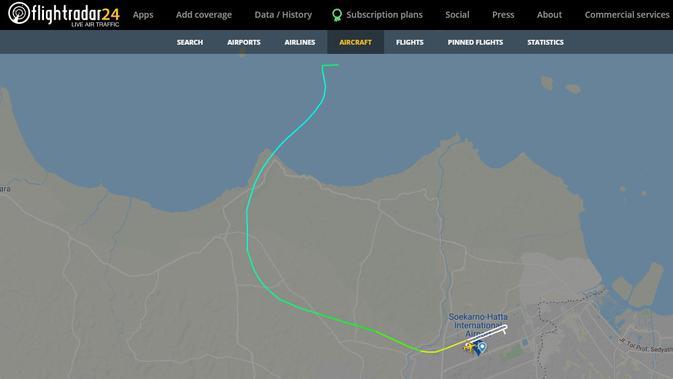 Posisi Terakhir Pesawat Sriwijaya Air SJ182 Menurut Flightradar24 Ada di Sekitar Kepulauan Seribu