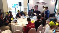 Suasana jelang meet and greet Valentino Rossi dan Maverick Vinales di Jakarta, Selasa (4/2/2020). (Bola.com/Hendry Wibowo)