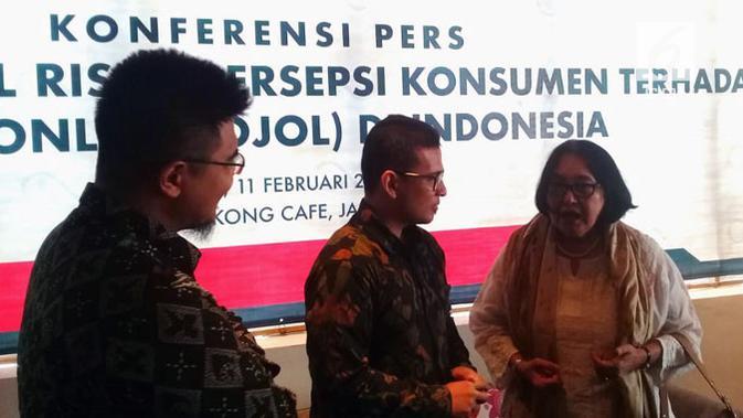 Pemaparan hasil survei RISED tentang tarif ojek online di Jakarta, Senin (11/2/2019). Liputan6.com/ Surya Handika R