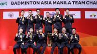 Skuad Indonesia saat juara Kejuaraan Bulutangkis Beregu Asia 2020, Minggu (16/2/2020). (Istimewa)