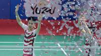 Kevin Sanjaya/Marcus Gideon merayakan kemenangan atas pasangan Jepang, Takuto Inoue/Yuki Kaneko pada final Indonesia Open 2018 di Istora Senayan, Jakarta, (8/6/2018). Kevin/Marcus menang 21-13 dan 21-16. (Bola.com/Nick Hanoatubun)