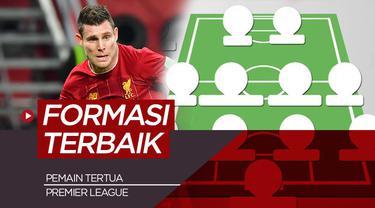 Berita motion grafis formasi terbaik 11 pemain tertua di Premier League, salahsatunya James Milner.