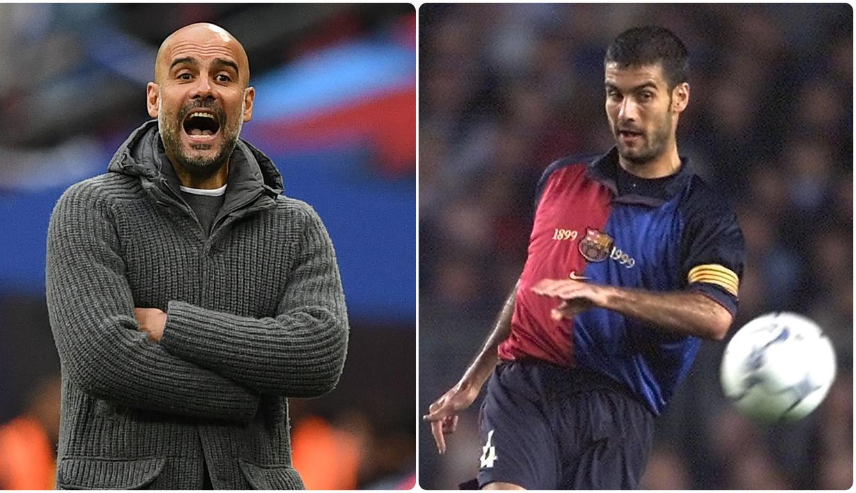 Berikut pesona Pep Guardiola ketika masih menjadi pemain. (kolase foto AFP)