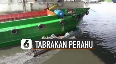 Beredar video sebuah kapal menbrak perahu nelayan. Beruntung kedua nelayan yang berada di atas perahu bisa terselamatkan.