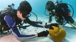 Dua penyelam membandingkan labu ukiran mereka saat Kontes Mengukir Labu Bawah Air di Florida Keys, Florida, Minggu (14/10). Kontes ini cukup sulit mengingat labu akan mengambang ke atas jika dibawa terlalu dalam. (Frazier Nivens/various sources/AFP)