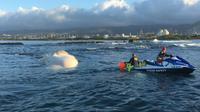 Pihak berwenang mencoba menderek bangkai ikan paus yang terapung di pantai, yaang berbentuk seperti buih. (Kredit: Hawaii Department of Land and Natural Resources)