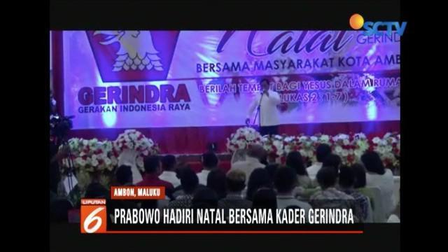 Prabowo Subianto hadiri acara Natal Partai Gerindra Provinsi Maluku.