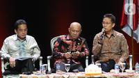 Wamen BUMN Budi Gunadi Sadikin (kanan) menyampaikan paparan saat diskusi panel VI Rakornas Indonesia Maju antara Pemerintah Pusat dan Forum Koordinasi Pimpinan Daerah (Forkopimda) di Bogor, Jawa Barat, Rabu (13/11/2019). Panel VI itu membahas transformasi ekonomi I. (Liputan6.com/Herman Zakharia)