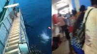 Penumpang KM Lambelu nekat un ke laut karena dilarang menepi. (Liputan6.com/ Jhon Gomes)