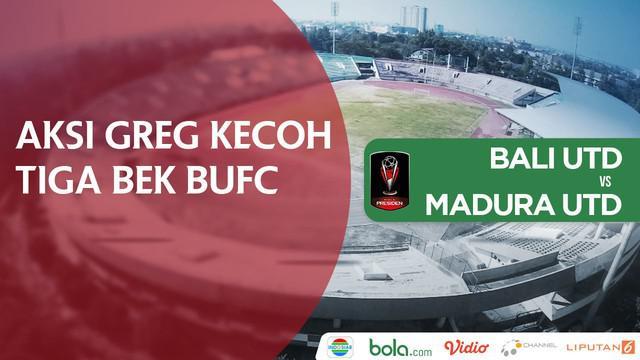 Greg Nwokolo membawa Madura United unggul 1-0 atas Bali United.