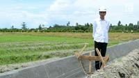 Presiden Jokowi meninjua irigasi di Desa Waimital, Kecamatan Kairatu, Kabupaten Seram Bagian Barat (14/2). Pembangunan irigasi di desa tersebut merupakan program dari Kementerian Pekerjaan Umum dan Perumahan Rakyat. (Liputan6.com/Pool/Biro Pers Setpres)
