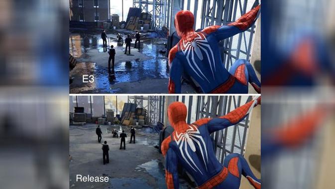 Perbandingan grafis gim Spider-Man ketika di E3 2018 dan yang bakal diluncurkan. (Doc: Reddit)