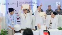 Pasangan capres dan cawapres Jokowi-Ma'ruf Amin dan Prabowo Subianto-Sandiaga Uno di KPU. (Liputan6.com)