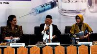 Ketua Umum MUI KH Ma'ruf Amin mengatakan imunisasi MR itu boleh, hindari bahaya campak dan rubella wajib. (Liputan6.com/Fitri Haryanti Harsono)