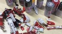 Koleksi mainan rakitan Gundam milik Ariel NOAH. (Instagram - @ariel_inst)