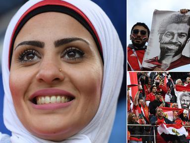 Sejumlah wanita-wanita cantik memberikan dukungan kepada Mesir yang tampil melawan Uruguay pada laga Grup A Piala Dunia 2018. Bagi para suporter Mesir, Mohamed Salah, menjadi idola utama. (Kolase foto-foto AFP dan AP)