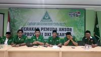 Gerakan Pemuda (GP) Ansor DKI Jakarta akan membantu TNI dan Polri menjaga keamanan Pemilu 2019. (Liputan6.com/Ika Defianti)