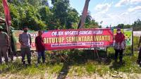 Objek Wisata Sungai Hijau di Kabupaten Kampar tutup setelah seorang yang pernah berkunjung dinyatakan positif Covid-19. (Liputan6.com/M Syukur)