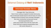 PT Sampoerna Telekomunikasi Indonesia (STI) melalui layanan internet dengan merek Net1 mengumumkan telah menyetop layanannya untuk sementara. Dok: tangkapan layar dari situs web net1.co.id