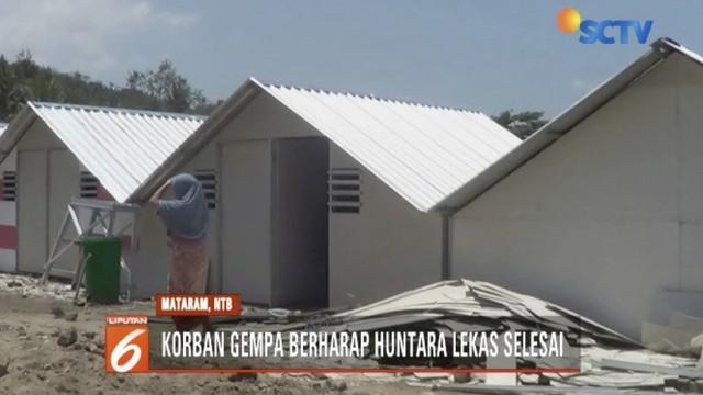 Korban gempa Lombok berharap pembangunan hunian sementara sudah rampung sebelum musim hujan datang.