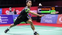 Tunggal putra Indonesia Anthony Sinisuka Ginting beraksi di BWF World Tour Finals. (BWF Limited Acces)