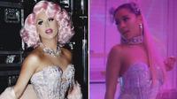 Foto yang diunggah Farrah Moan (kiri) ke twitternya karena menganggap Ariana Grande mencuri model pakaiannya. (twiiter.com/farrahrized)
