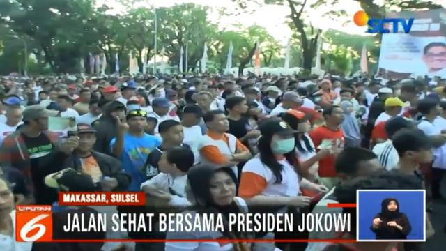 Presiden didampingi oleh Pelaksana Tugas Gubernur Sulsel, Soni Sumarsono serta Walikota Makassar Mohammmad Ramdhan Pomanto.
