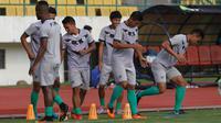 Pemain PSMS Medan tengah berlatih jelang pertandingan melawan Persija Jakarta (Fajar Abrori/Liputan6.com)