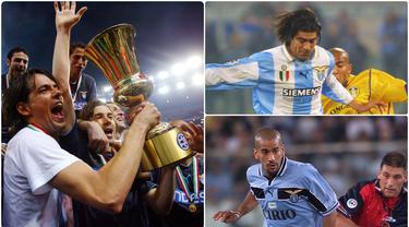 Lazio memiliki sejarah sebagai klub yang ditakuti di Liga Italia. Saat itu skuat Biancocelesti sukses mengukir sejarah dengan meraih scudetto pada 1999/2000, bahkan disebut-sebut sebagi dream team. Berikut 5 bintang Lazio saat mendapat julukan Dream Team. (kolase foto AFP)