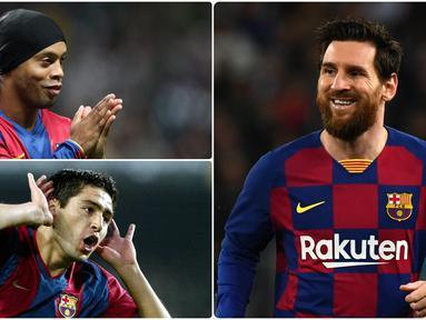 Lionel Messi menjadi pengguna nomor punggung 10 terlama di Barcelona. Pemain asal Argentina ini telah menggunakan nomor tersebut dari tahun 2008 hingga sekarang. Berikut Lionel Messi dan pengguna nomor punggung 10 di Barcelona. (kolase foto AFP)