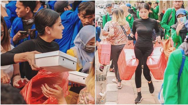 7 Momen Awkarin Bagikan 3000 Nasi Kotak untuk Peserta Demo di DPR ...