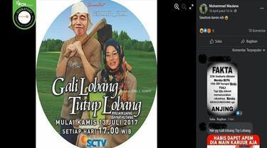 Gambar Tangkapan Layar Foto yang Diklaim poster sinetron berjudul Gali Lobang Tutup Lobang Bergambar Wajah Jokowi dan Sri Mulyani (sumber: Facebook)