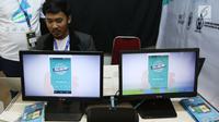 Salah satu stan produk startup pada Global Mobile Internet Conference (GMIC) Indonesia di ICE BSD, Tangsel, Selasa (26/9). Acara ini diikuti 1.500 eksekutif industri mobile, pengusaha, developer dan investor seluruh dunia. (Liputan6.com/Angga Yuniar)