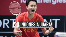 Indonesia akhirnya berhasil kembali juarai Piala Thomas usai tumbangkan tim China 3-0 di Ceres Arena hari Minggu (17/10). Indonesia terakhir kali raih Thomas di tahun 2002.