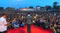 Cawapres Ma'ruf Amin saat menghadiri Silaturahmi Banser NU di Kabupateng Lamongan, Jatim (Liputan6.com/Putu Merta)