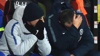 Ekspresi Manajer Chelsea, Maurizio Sarri (kanan) selama laga melawan Bournemouth pada lanjutan pekan ke-24 Premier League 2018-2019 di Bournemouth, Inggris, Rabu (30/1). Chelsea kalah 4-0. (Glyn KIRK/AFP)