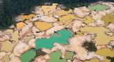 Pandangan udara kawasan Hutan Amazon yang terdeforestasi (penurunan luas area hutan secara kualitas dan kuantitas) di wilayah Sungai Madre de Dios, Peru, Jumat (17/5/2019). Hutan Amazon mengalami deforestasi akibat kegiatan penambangan ilegal. (CRIS BOURONCLE/AFP)