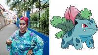 6 Gaya Fashion Bude Sumiyati yang Dianggap Netizen Mirip Karakter Pokemon (sumber: Instagram.com/sadheauxx)