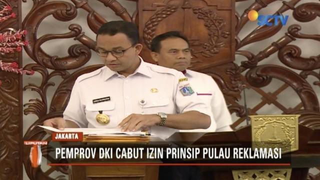 Pemprov DKI Jakarta mencabut izin reklamasi Teluk Jakarta. Empat pulau yang sudah dibangun akan dikelola untuk kepentingan umum.