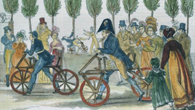 Draisine buatan 1818, cikal bakal sepeda yang tercipta akibat dampak perubahan iklim di Abad ke-19. (Sumbe Wikimedia Commons)