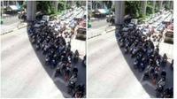 Tingkah kocak orang-orang saat menghindari terik matahari di jalanan (Sumber: Brilio.net)