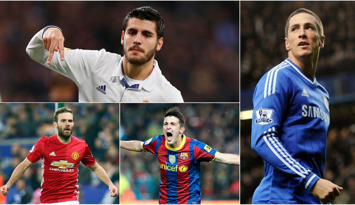 Berikut ini lima pemain asal Spanyol termahal sepanjang sejarah. Alvaro Morata menempati posisi teratas menggeser Fernando Torres. (Foto-foto Kolase AP dan EPA)