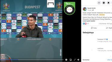 Cek Fakta Liputan6.com menelusuri klaim video Cristiano Ronaldo menggeser botol Coca-Cola karena produk Yahudi