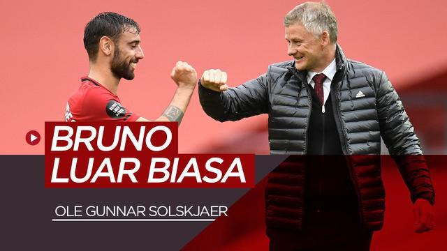 VIDEO: Pujian Ole Gunnar Solskjaer untuk Bruno Fernandes usai cetak 2 gol saat Manchester United kalahkan Istanbul Basaksehir di Liga Champions, Rabu (25/11/20).